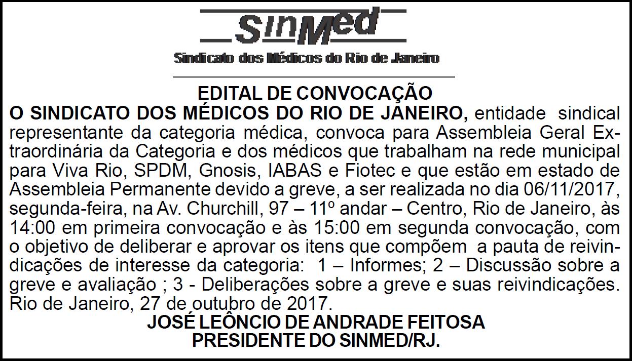 EDITAL DE CONVOCAÇÃO – ASSEMBLEIA GERAL EXTRAORDINÁRIA 06/11/2017