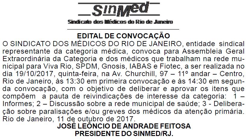 EDITAL DE CONVOCAÇÃO – Médicos e Médicas da Rede Municipal