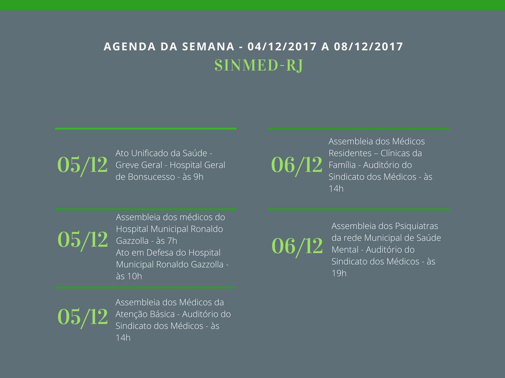 AGENDA DA SEMANA – 04/12/2017 A 08/12/2017