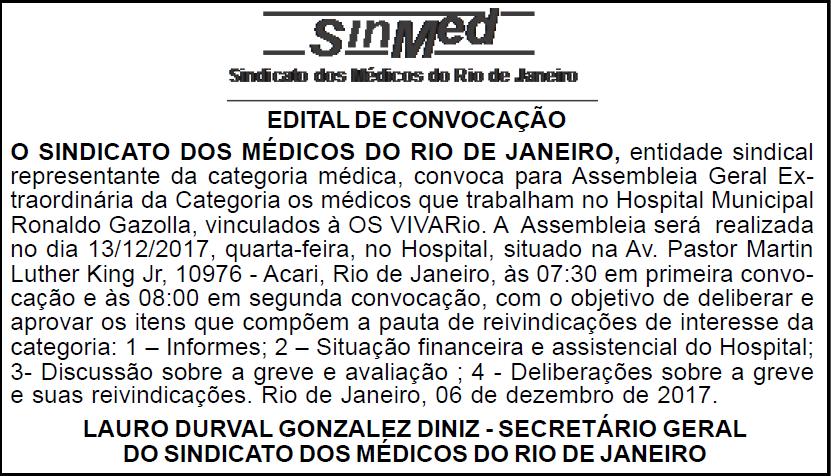 Assembleia dos Médicos do Hospital Municipal Ronaldo Gazzolla – 13/12/2017
