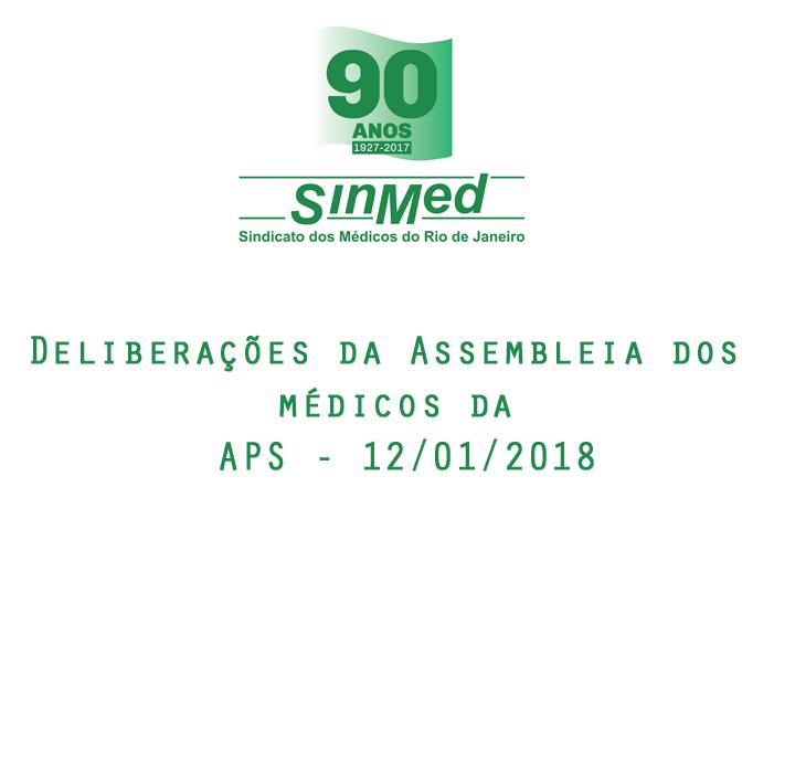 Deliberações da Assembleia dos médicos da APS – 12/01/2018