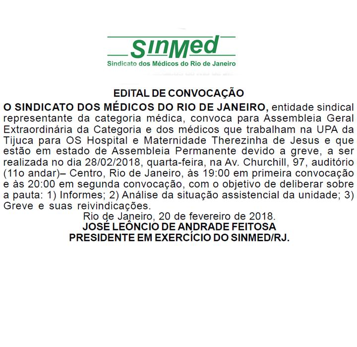 Assembleia de médicos – UPA Tijuca e Maternidade Therezinha de Jesus – 28/02/2018 – 19h⠀⠀⠀⠀⠀⠀⠀⠀⠀⠀⠀⠀⠀⠀⠀⠀⠀⠀⠀⠀⠀⠀⠀⠀