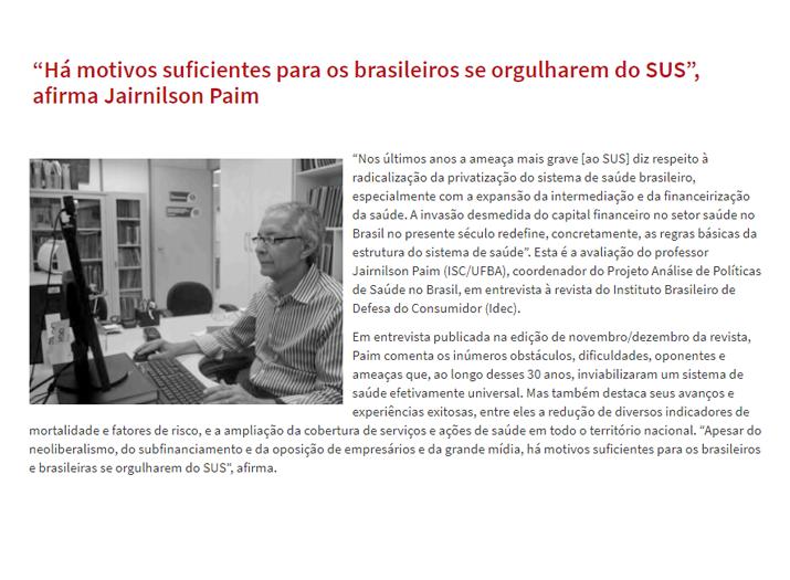 SUS é motivo de orgulho para os brasileiros.  SinMed na luta pelo SUS.
