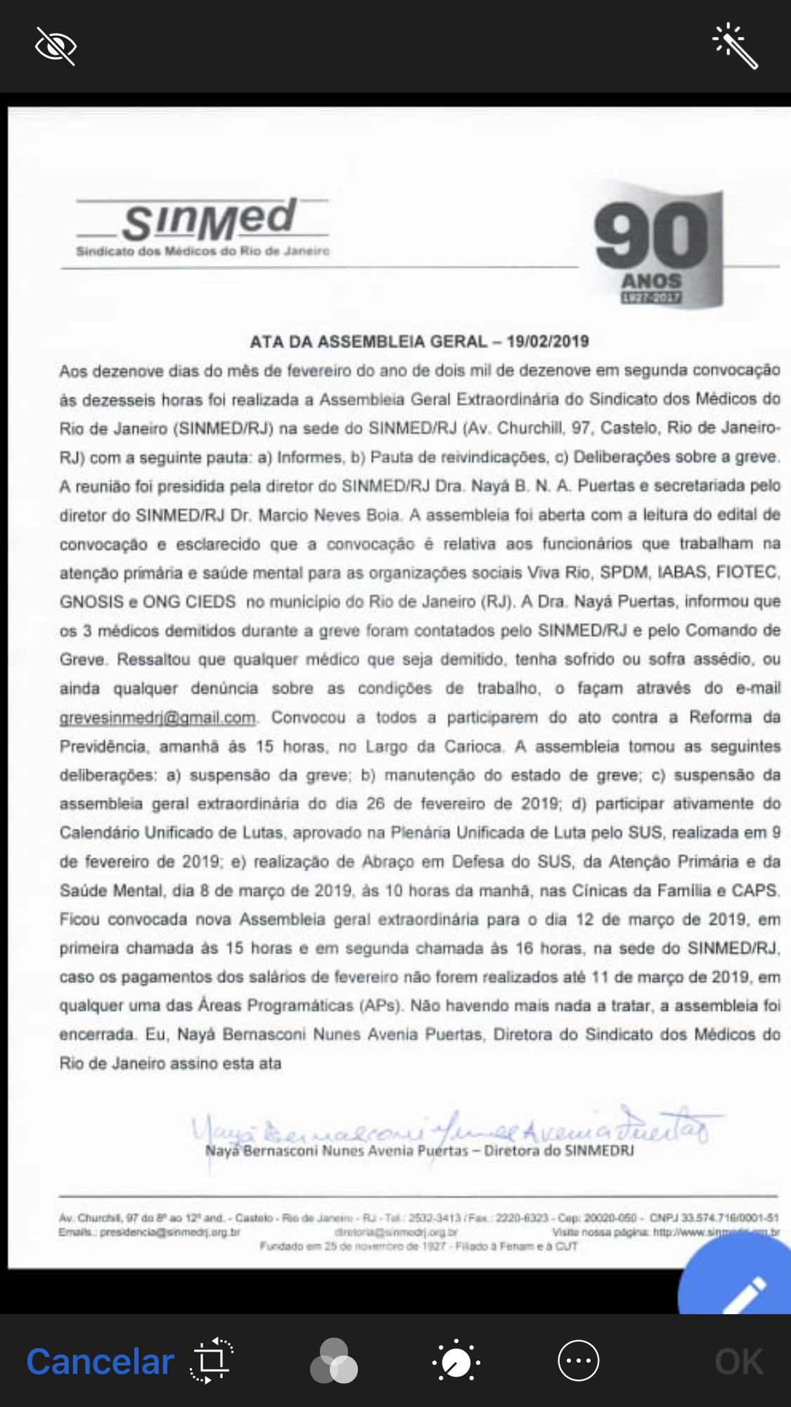 AO e SM suspendem greve em assembleia feita hoje, 18/02/2019