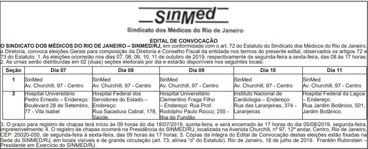 EDITAL DE CONVOCAÇÃO DAS ELEIÇÕES DO SINMED-RJ