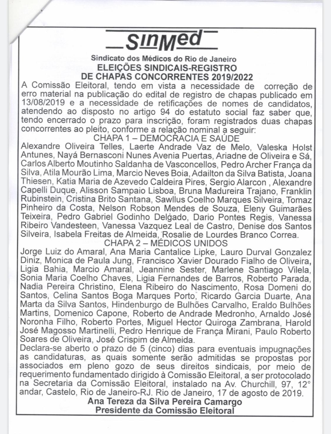 Edital Eleições SinMed/RJ, correção