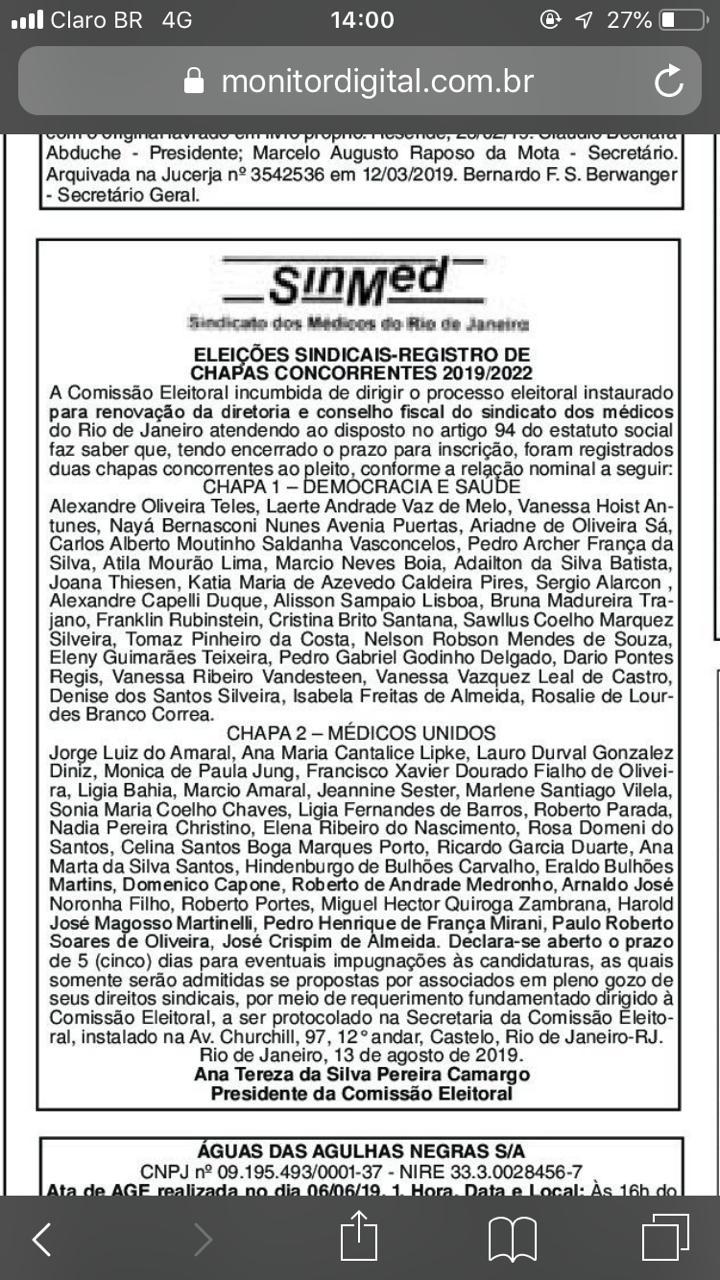 Edital Eleições SinMed 2029