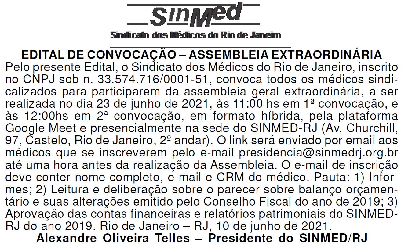 EDITAL DE CONVOCAÇÃO – ASSEMBLEIA EXTRAORDINÁRIA 23/06/2021